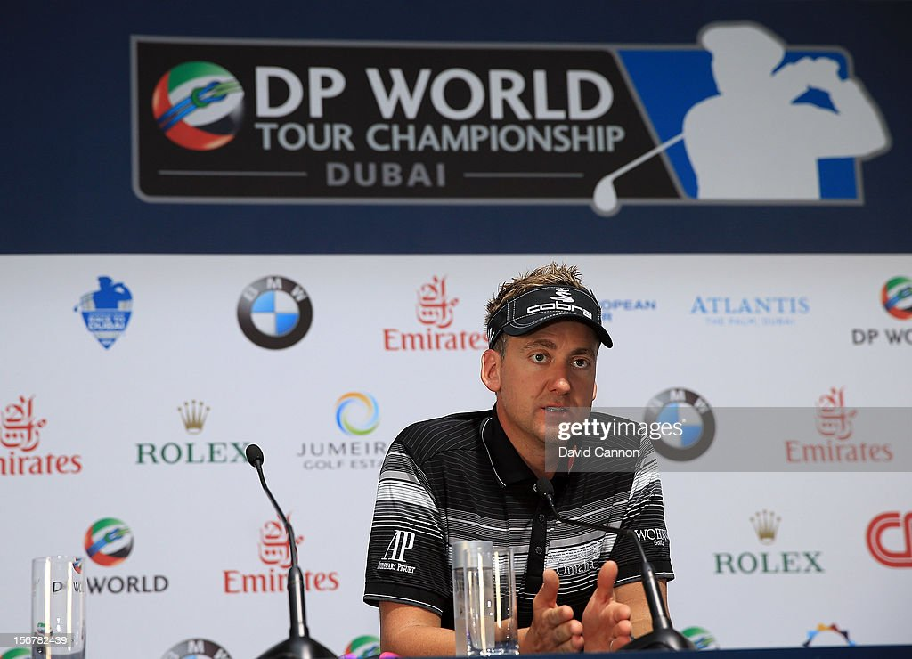 <a gi-track='captionPersonalityLinkClicked' href=/galleries/search?phrase=Ian+Poulter&family=editorial&specificpeople=171444 ng-click='$event.stopPropagation()'>Ian Poulter</a> of England talks to the media during a preview for the 2012 DP World Tour Championship on the Earth Course at at Jumeirah Golf Estates on November 21, 2012 in Dubai, United Arab Emirates.