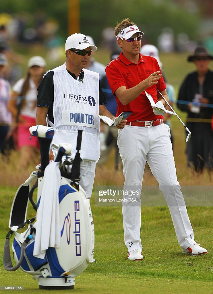 Ian Poulter (R) of England talks with caddie Terry Mundy (L) on the 14th hole during the third round of the 141st Open Championship at Royal Lytham & St. Annes Golf Club on July 21, 2012 in Lytham St Annes, England.