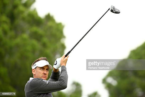 Ian Poulter of England tee's off at the 6th during the second round of the 2014 Turkish Airlines Open at The Montgomerie Maxx Royal on November 14...