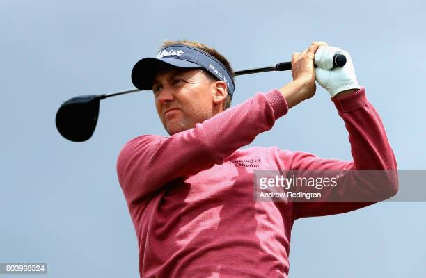 Ian Poulter of England tees off on the 5th during day two of the HNA Open de Feance at Le Golf National on June 30 2017 in Paris France