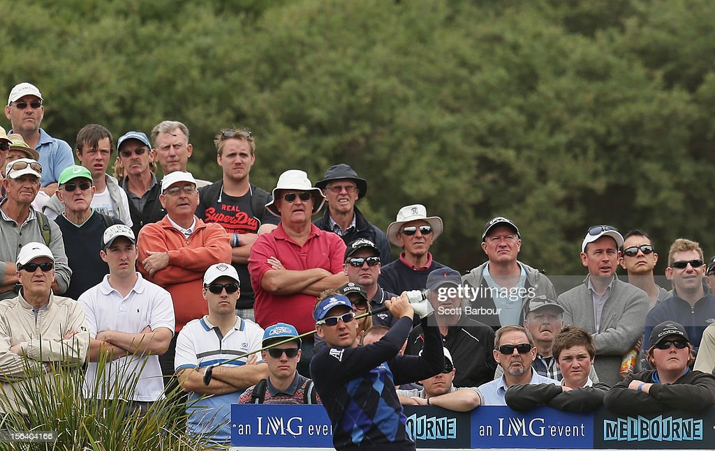<a gi-track='captionPersonalityLinkClicked' href=/galleries/search?phrase=Ian+Poulter&family=editorial&specificpeople=171444 ng-click='$event.stopPropagation()'>Ian Poulter</a> of England tess off during day one of the Australian Masters at Kingston Heath Golf Club on November 15, 2012 in Melbourne, Australia.