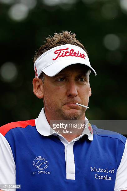 Ian Poulter of England waits at the 11th tee during the third round of the Crowne Plaza Invitational at the Colonial Country Club on May 23 2015 in...