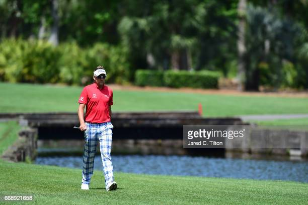 Ian Poulter of England walks up to the fourth green during the third round of the 2017 RBC Heritage at Harbour Town Golf Links on April 15 2017 in...