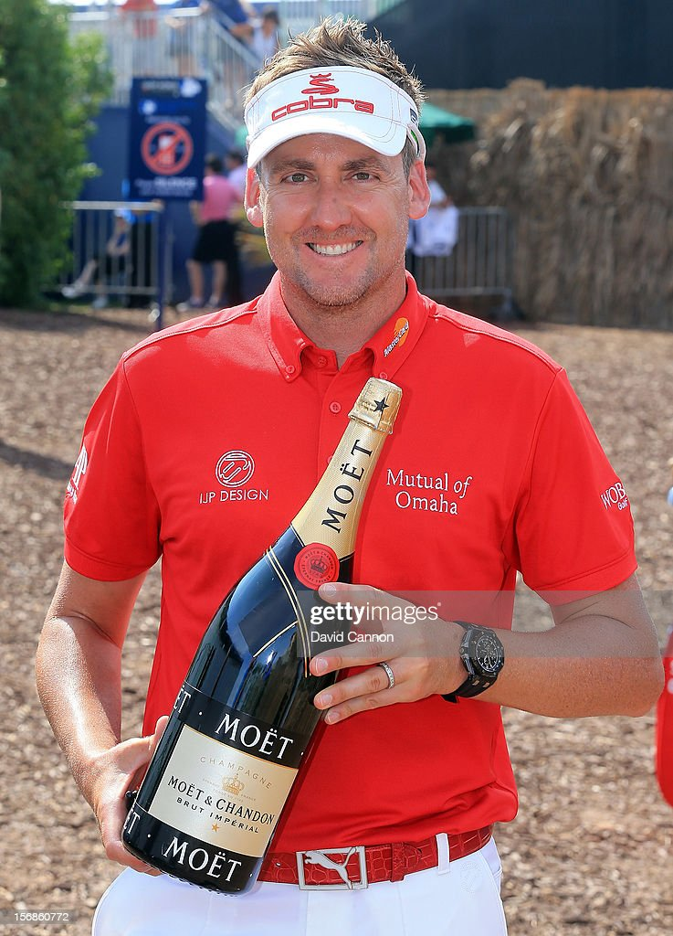 Ian Poulter of England with the Moet European Tour Golfer of the Month award for September 2012 during the second round of the 2012 DP World Tour Championship on the Earth Course at Jumeirah Golf Estates on November 23, 2012 in Dubai, United Arab Emirates.