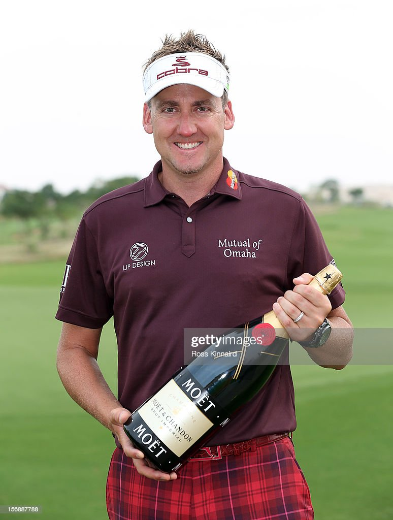 Ian Poulter of England with the Moet European Tour Golfer of the Month award for September 2012 during the third round the DP World Tour Championship on the Earth Course at Jumeirah Golf Estates on November 24, 2012 in Dubai, United Arab Emirates.