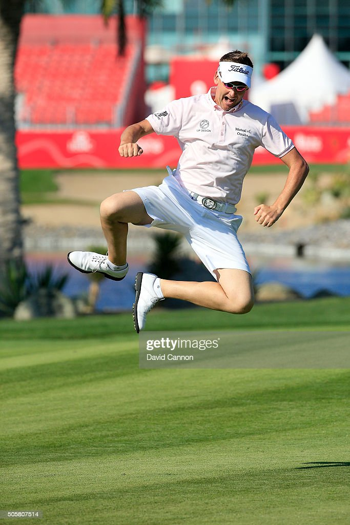 Ian Poulter of Englands enjoying the freedom of being allowed to wear shorts during the proam as a preview for the 2016 Abu Dhabi HSBC Golf...