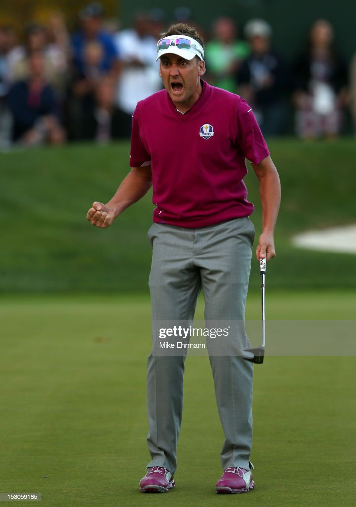 <a gi-track='captionPersonalityLinkClicked' href=/galleries/search?phrase=Ian+Poulter&family=editorial&specificpeople=171444 ng-click='$event.stopPropagation()'>Ian Poulter</a> of Europe celebrates after making birdie on the 16th green during day two of the Afternoon Four-Ball Matches for The 39th Ryder Cup at Medinah Country Club on September 29, 2012 in Medinah, Illinois.