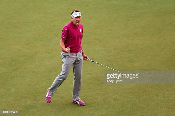 Ian Poulter of Europe reacts after a birdie on the 17th hole during day two of the Afternoon FourBall Matches for The 39th Ryder Cup at Medinah...