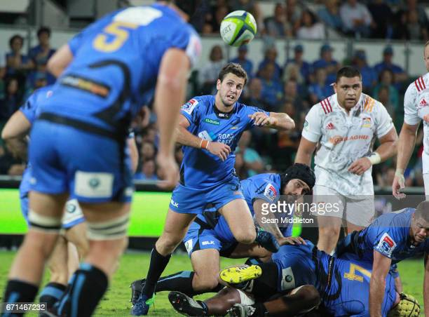 Ian Prior of Force passes during the round nine Super Rugby match between the Force and the Chiefs at nib Stadium on April 22 2017 in Perth Australia