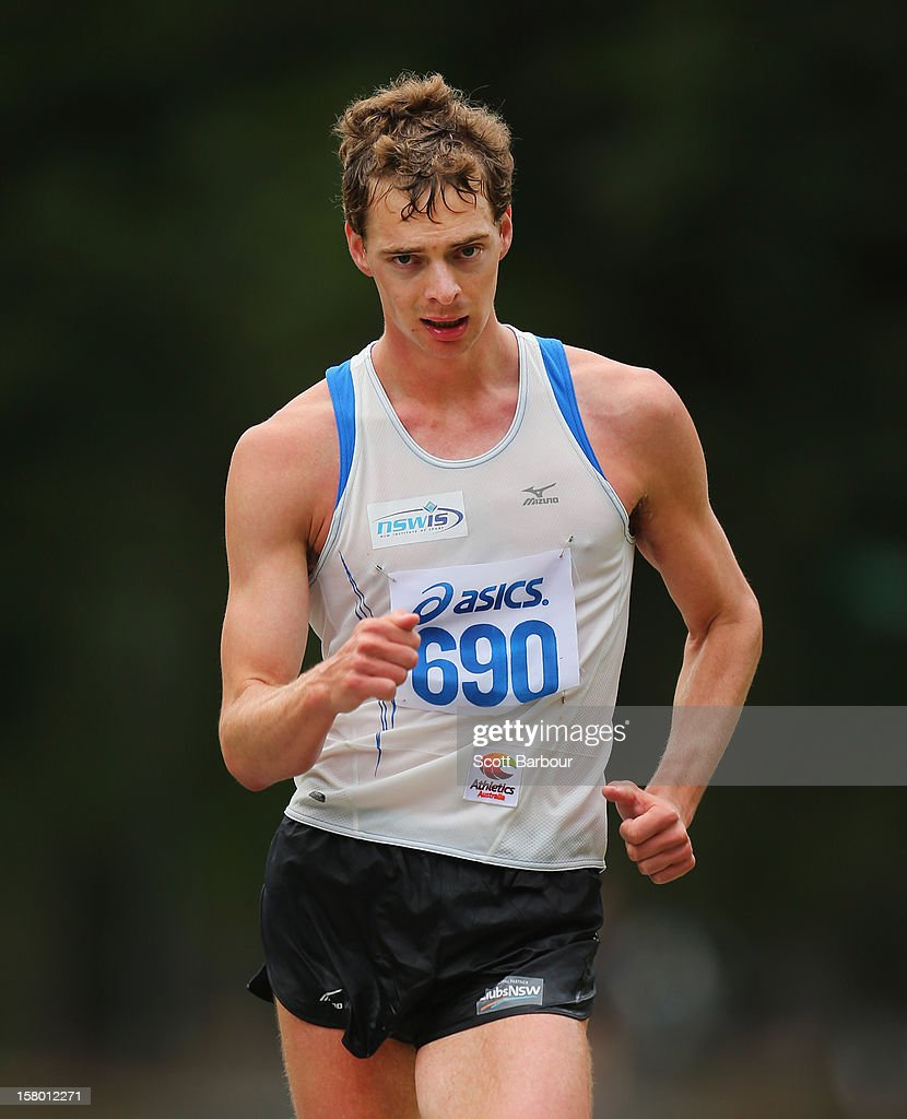 Ian Rayson of NSWIS competes in the Mens 50000 metre Race Walk Championship Open during the 50km race walking championships at Fawkner Park on December 9, 2012 in Melbourne, Australia.