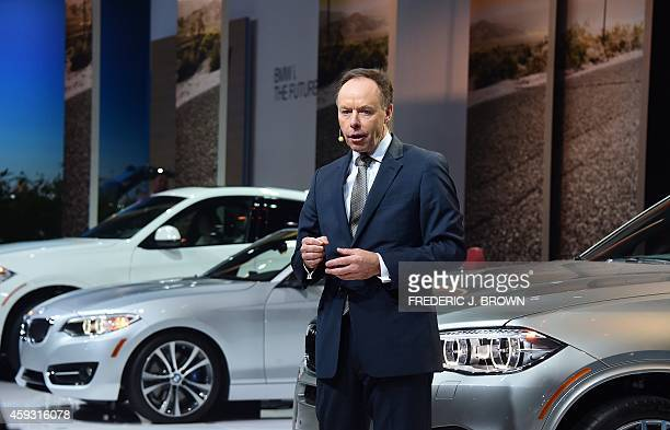 Ian Robertson chief of sales and marketing in the BMW Group speaks ahead of the debut of the BMW's X5M and X6M at the LA Auto Show's press and trade...