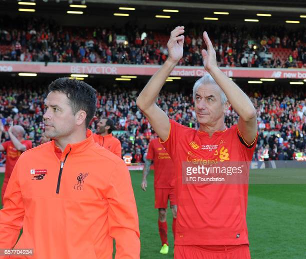 Ian Rush and Michael Owen Legends at the end of the LFC Foundation Charity Match between Liverpool Legends and Real Madrid Legends at Anfield on...