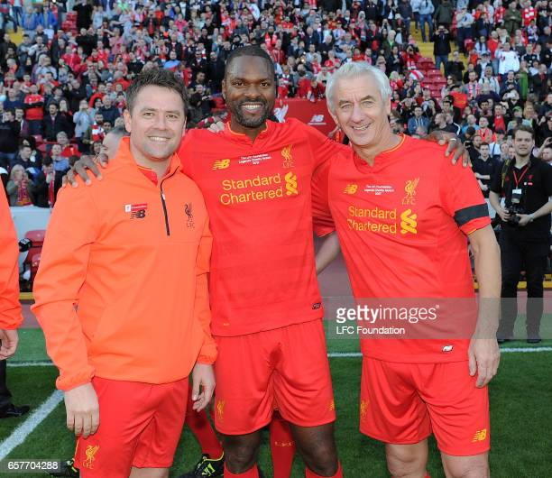 Ian Rush and Michael Owen with Salif Diao Legends at the end of the LFC Foundation Charity Match between Liverpool Legends and Real Madrid Legends at...