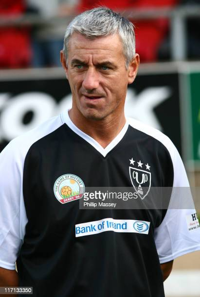 Ian Rush during Derry FC Celebrity Football Match at Brandywell Stadium in Derry Ireland