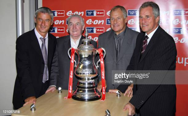 Ian Rush guest Joe Royle and Ray Clemence during FA Cup Legends Lunch Departures at Savoy in London Great Britain