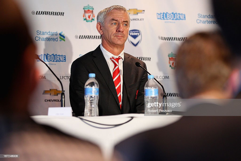 <a gi-track='captionPersonalityLinkClicked' href=/galleries/search?phrase=Ian+Rush&family=editorial&specificpeople=2107557 ng-click='$event.stopPropagation()'>Ian Rush</a> Liverpool FC Ambassador and Former Player speaks to the media during a press conference at Melbourne Cricket Ground on April 23, 2013 in Melbourne, Australia. Liverpool FC will play Melbourne Victory in a friendly at the MCG on July 24th.