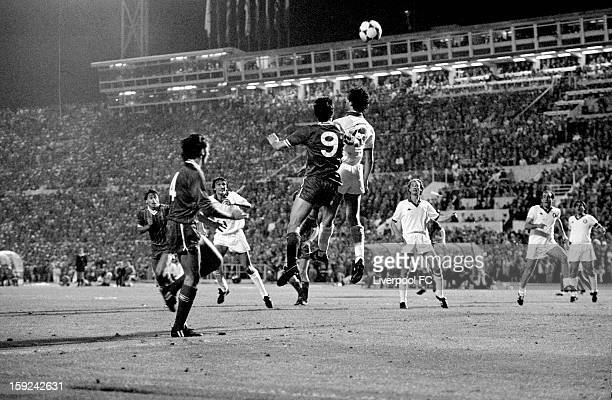 Ian Rush of Liverpool rises highest to head the ball during the UEFA European Cup Final between AS Roma and Liverpool FC held on May 30 1984 at the...