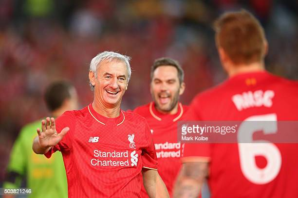 Ian Rush of the Liverpool FC Legends celebrates scoring a goal during the match between Liverpool FC Legends and the Australian Legends at ANZ...