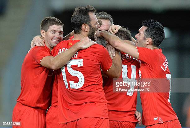 Ian Rush of the Liverpool Legends celebrates scoring a goal during the match between Liverpool FC Legends and the Australian Legends at ANZ Stadium...