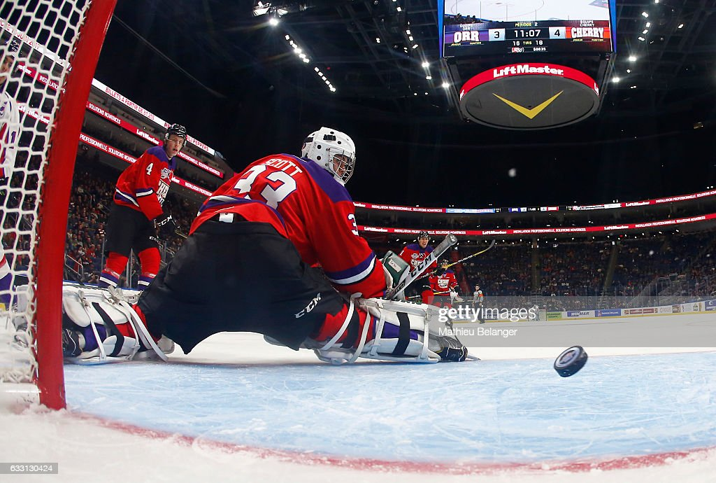 Ian Scott #33 of Team Cherry concedes a goal to Team Orr during the second period of their Sherwin-Williams CHL/NHL Top Prospects Game at the Videotron Center on January 30, 2017 in Quebec City, Quebec, Canada.