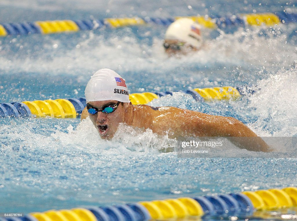 Ian Silverman looks for his competition as he cruises to the prelim win in the Men's 100 Meter Butterfly at the U.S. Paralympic Trials at Mecklenburg County Aquatic Center on July 1, 2016 in Charlotte, North Carolina.