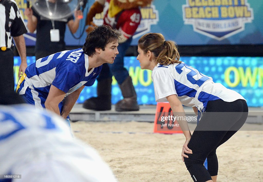 Ian Somerhalder and Maria Menounos attend DIRECTV'S 7th Annual Celebrity Beach Bowl at DTV SuperFan Stadium at Mardi Gras World on February 2, 2013 in New Orleans, Louisiana.