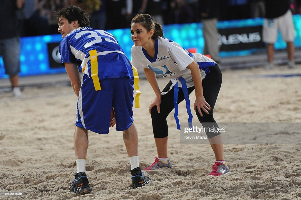 Ian Somerhalder and TV personality Maria Menounos attend DIRECTV'S 7th annual celebrity Beach Bowl at DTV SuperFan Stadium at Mardi Gras World on February 2, 2013 in New Orleans, Louisiana.