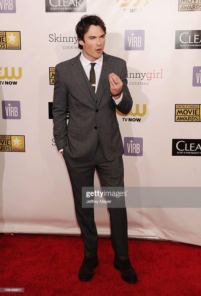 Ian Somerhalder arrives at the 18th Annual Critics' Choice Movie Awards at The Barker Hanger on January 10, 2013 in Santa Monica, California.