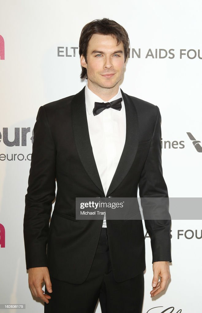 <a gi-track='captionPersonalityLinkClicked' href=/galleries/search?phrase=Ian+Somerhalder&family=editorial&specificpeople=614226 ng-click='$event.stopPropagation()'>Ian Somerhalder</a> arrives at the 21st Annual Elton John AIDS Foundation Academy Awards viewing party held at West Hollywood Park on February 24, 2013 in West Hollywood, California.