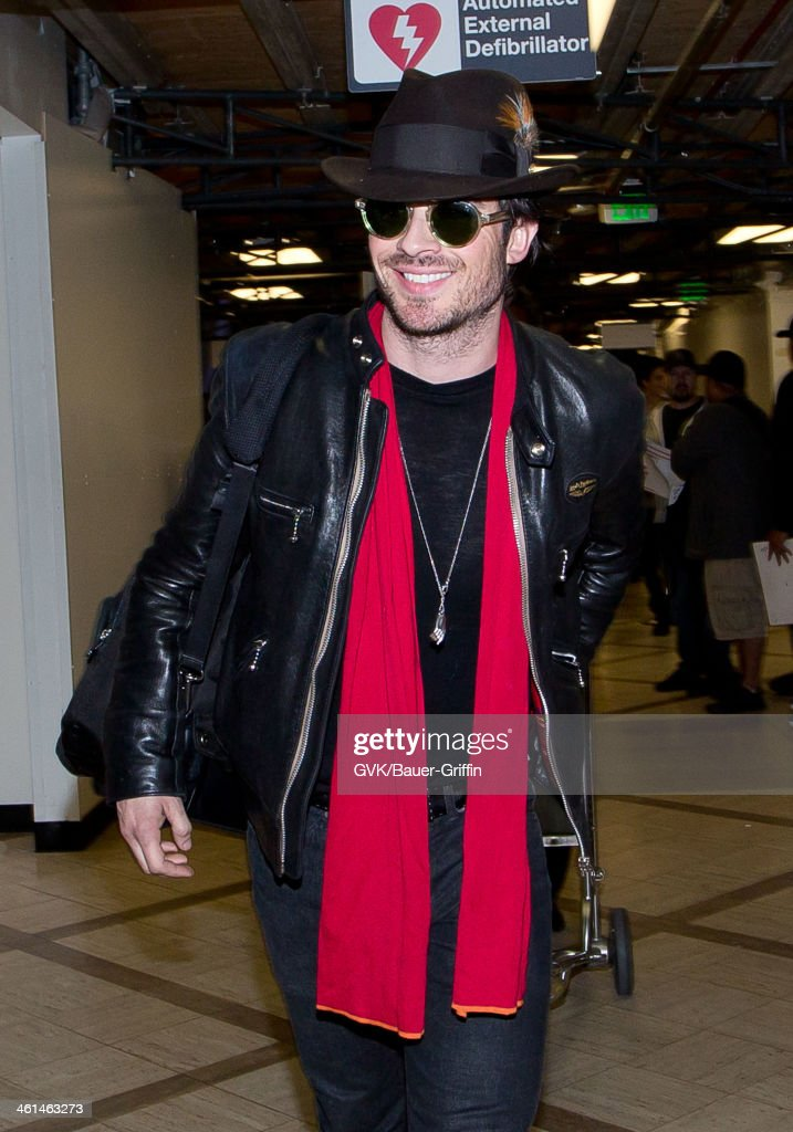 <a gi-track='captionPersonalityLinkClicked' href=/galleries/search?phrase=Ian+Somerhalder&family=editorial&specificpeople=614226 ng-click='$event.stopPropagation()'>Ian Somerhalder</a> is seen at LAX airport on January 08, 2014 in Los Angeles, California.