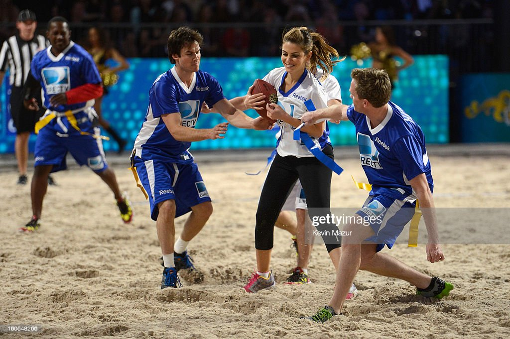 Ian Somerhalder, Maria Menounos, Josh Hutcherson, and Neil Patrick Harris attend DIRECTV'S 7th annual celebrity Beach Bowl at DTV SuperFan Stadium at Mardi Gras World on February 2, 2013 in New Orleans, Louisiana.