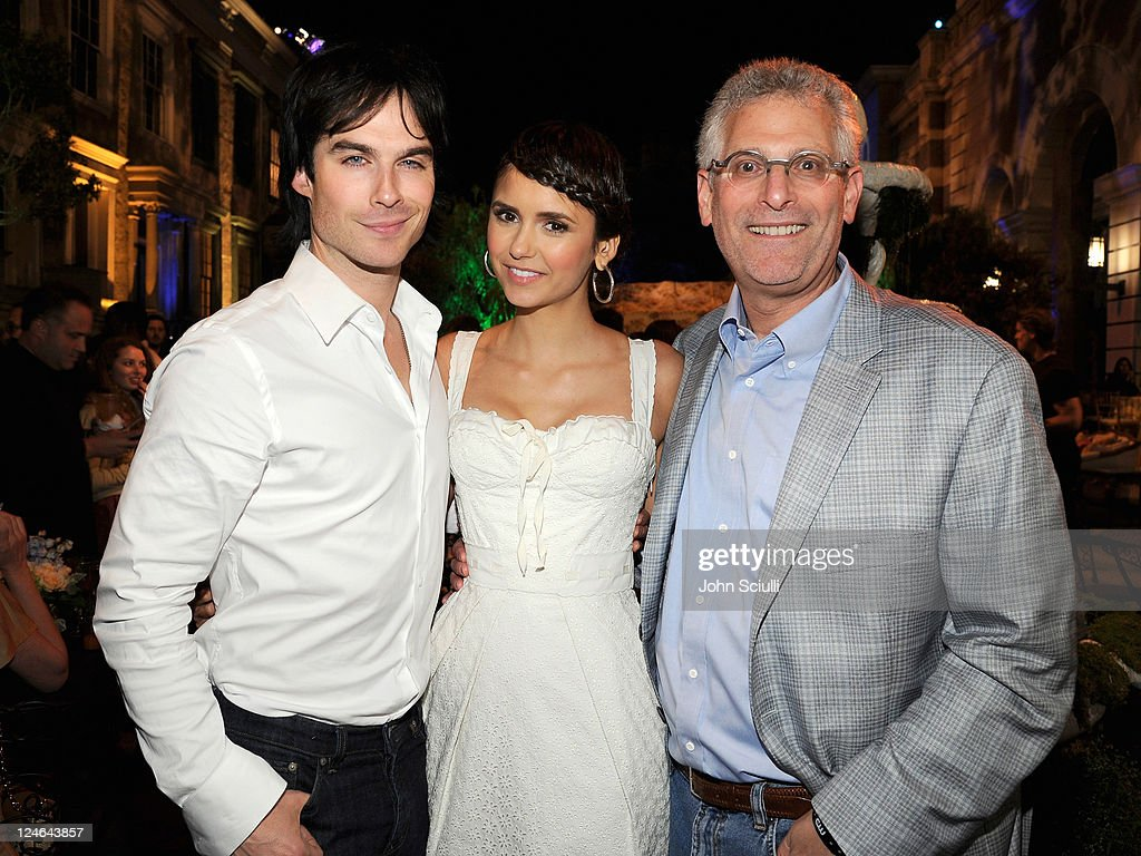 Ian Somerhalder, Nina Dobrev and Mark Pedowitz attend the CW launch party presented by Bing at Warner Bros. Studios on September 10, 2011 in Burbank, California.