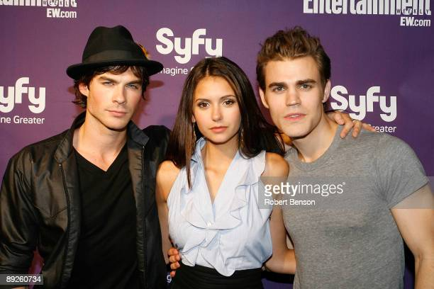 Ian Somerhalder Nina Dobrev and Paul Wesley at the Entertainment Weekly and Syfy invade ComicCon party at Hotel Solamar on July 25 2009 in San Diego...