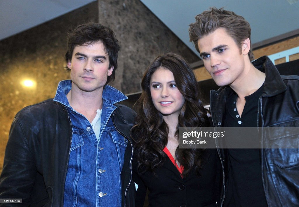 Ian Somerhalder Nina Dobrev and Paul Wesley from 'The Vampire Diaries' visits Hot Topic at Garden State Plaza on January 30 2010 in Paramus New Jersey