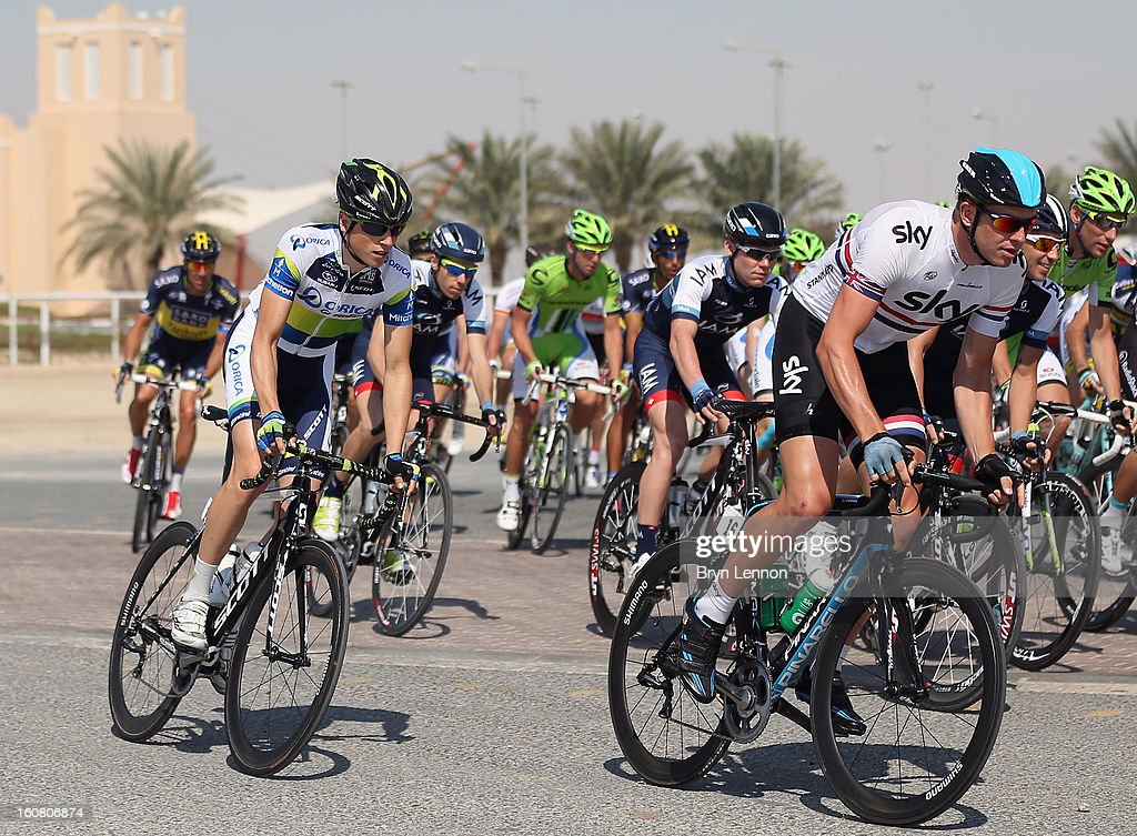 Ian Stannard of Great Britain and SKY Procycling rides in the peloton at the start of stage four of the Tour of Qatar from Camel Race Track to Al Khor Corniche on February 6, 2013 at Camel Race Track, Qatar.