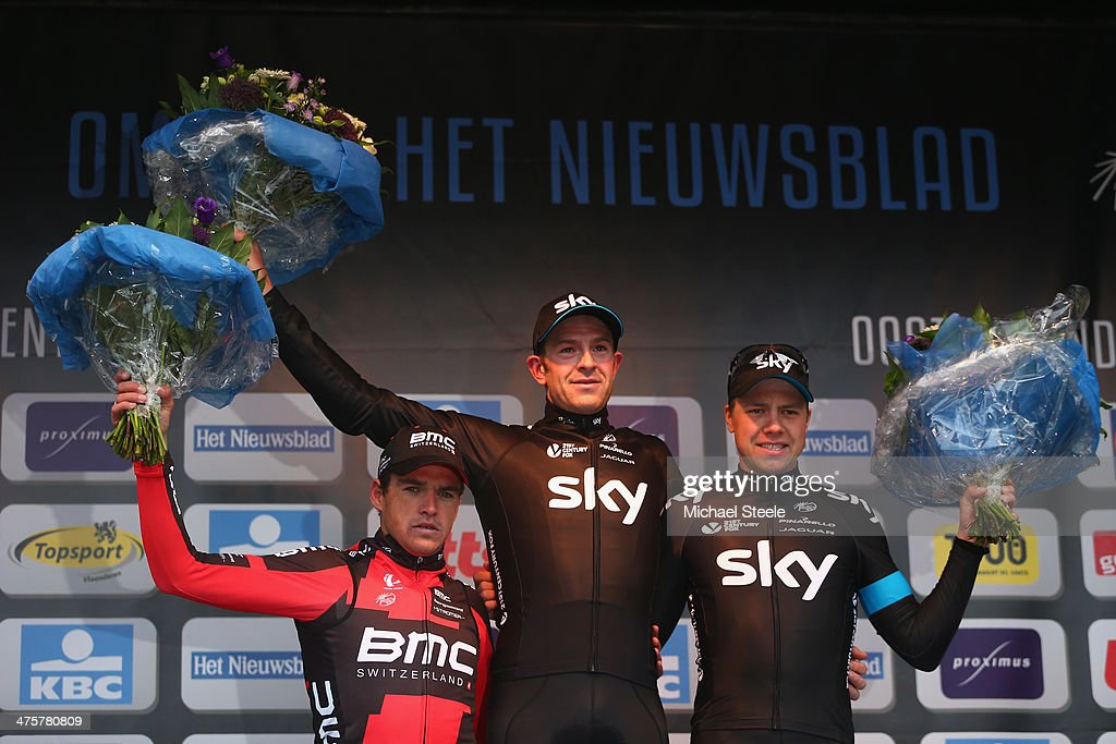 <a gi-track='captionPersonalityLinkClicked' href=/galleries/search?phrase=Ian+Stannard&family=editorial&specificpeople=3472614 ng-click='$event.stopPropagation()'>Ian Stannard</a> (C) of Great Britain and Team Sky celebrates first place alongside second placed Greg Van Avermaet (L) of Belgium and BMC Racing Team and third placed <a gi-track='captionPersonalityLinkClicked' href=/galleries/search?phrase=Edvald+Boasson+Hagen&family=editorial&specificpeople=4451245 ng-click='$event.stopPropagation()'>Edvald Boasson Hagen</a> (R) of Norway and Team Sky during the Omloop Het Nieuwsblad on March 1, 2014 in Ghent, Belgium.