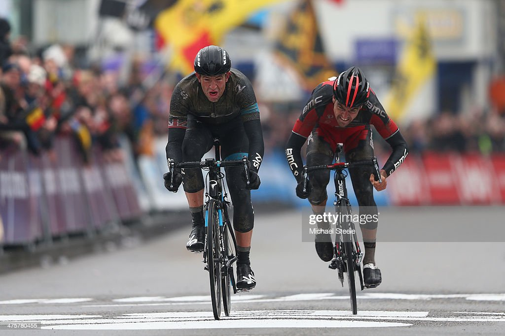 <a gi-track='captionPersonalityLinkClicked' href=/galleries/search?phrase=Ian+Stannard&family=editorial&specificpeople=3472614 ng-click='$event.stopPropagation()'>Ian Stannard</a> (L) of Great Britain and Team Sky claims victory from <a gi-track='captionPersonalityLinkClicked' href=/galleries/search?phrase=Greg+Van+Avermaet&family=editorial&specificpeople=4485333 ng-click='$event.stopPropagation()'>Greg Van Avermaet</a> (R) of Belgium and BMC Racing Team during the Omloop Het Nieuwsblad on March 1, 2014 in Ghent, Belgium.