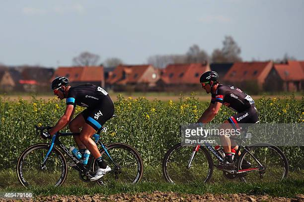 Ian Stannard of Great Britain and Team SKY leads race winner John Degenkolb of Germany and Team GiantAlpecin during the 2015 Paris Roubaix cycle race...