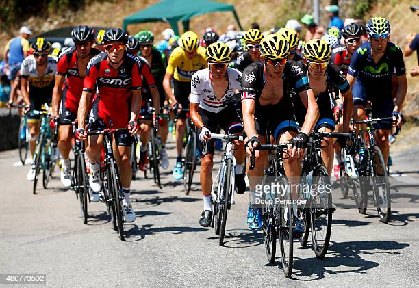 Ian Stannard of Great Britain and Team Sky rides during stage eleven of the 2015 Tour de France a 188 km stage between Pau and Cauterets on July 15...