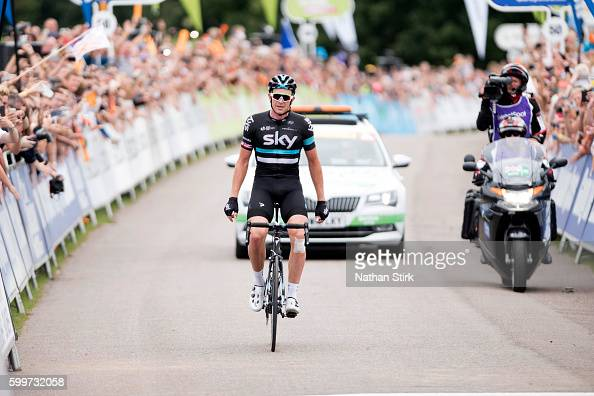 Ian Stannard of Team Sky crosses the line to win stage three of the 2016 Tour of Britain from Congleton to Tatton Park Knutsford on September 6 2016...