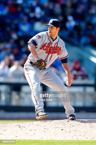 Ian Thomas of the Atlanta Braves in action against the New York Mets at Citi Field on April 20 2014 in the Flushing neighborhood of the Queens...