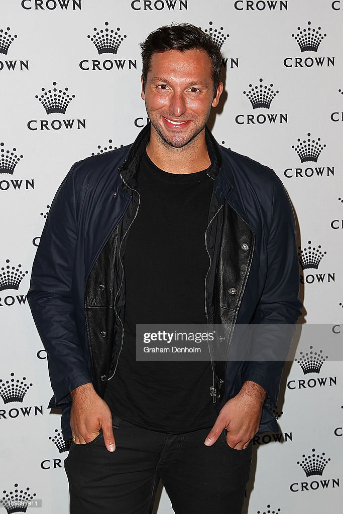 <a gi-track='captionPersonalityLinkClicked' href=/galleries/search?phrase=Ian+Thorpe&family=editorial&specificpeople=162699 ng-click='$event.stopPropagation()'>Ian Thorpe</a> arrives at Crown's IMG Tennis Player's Party at Crown Towers on January 13, 2013 in Melbourne, Australia.