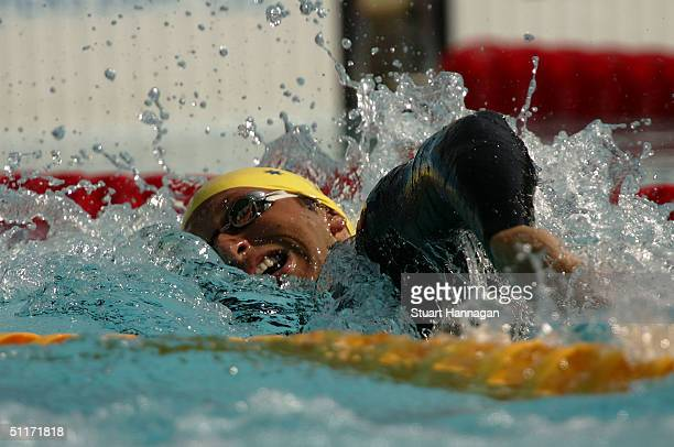 Ian Thorpe of Australia competes in the men's swimming 200 metre freestyle heat on August 15 2004 during the Athens 2004 Summer Olympic Games at the...