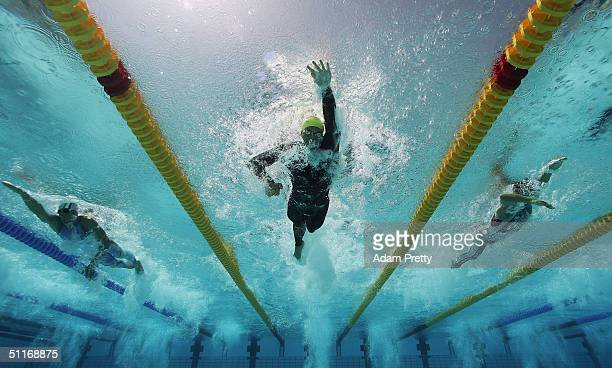 Ian Thorpe of Australia competes in the men's swimming 400 metre freestyle heat on August 14 2004 during the Athens 2004 Summer Olympic Games at the...