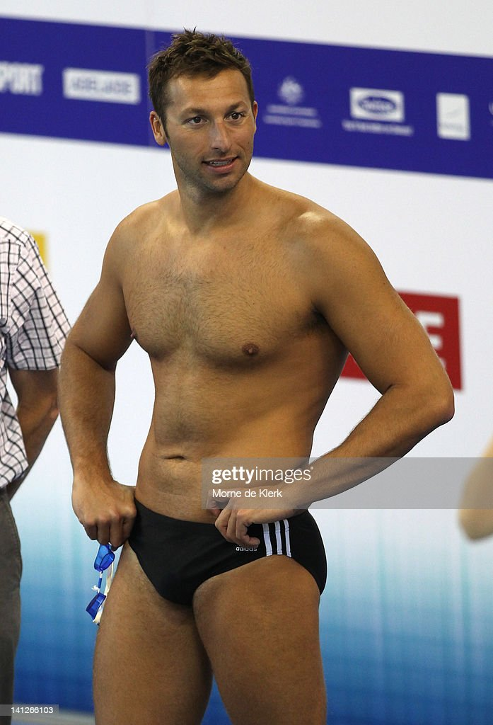 <a gi-track='captionPersonalityLinkClicked' href=/galleries/search?phrase=Ian+Thorpe&family=editorial&specificpeople=162699 ng-click='$event.stopPropagation()'>Ian Thorpe</a> prepares for training during an Australian Swimming Championships training session at South Australian Aquatic & Leisure Centre on March 14, 2012 in Adelaide, Australia.