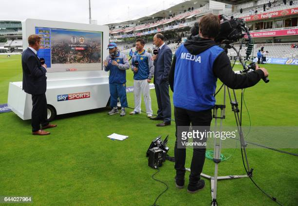 Ian Ward and Nasser Hussain of Sky Sports Cricket and Yasir Shah and Mushtaq Armed of Pakistan during their coverage of day two of the 1st Investec...