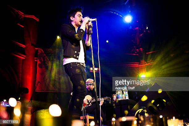 Ian Watkins and Lee Gaze of Lostprophets perform onstage as part of Mencap's Little Voice Sessions at the Union Chapel on November 20 2009 in London...