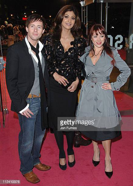 Ian Watkins Shilpa Shetty and Lisa Scott lee during 'Music And Lyrics' London Premiere Inside at Odeon Leicester Square in London United Kingdom
