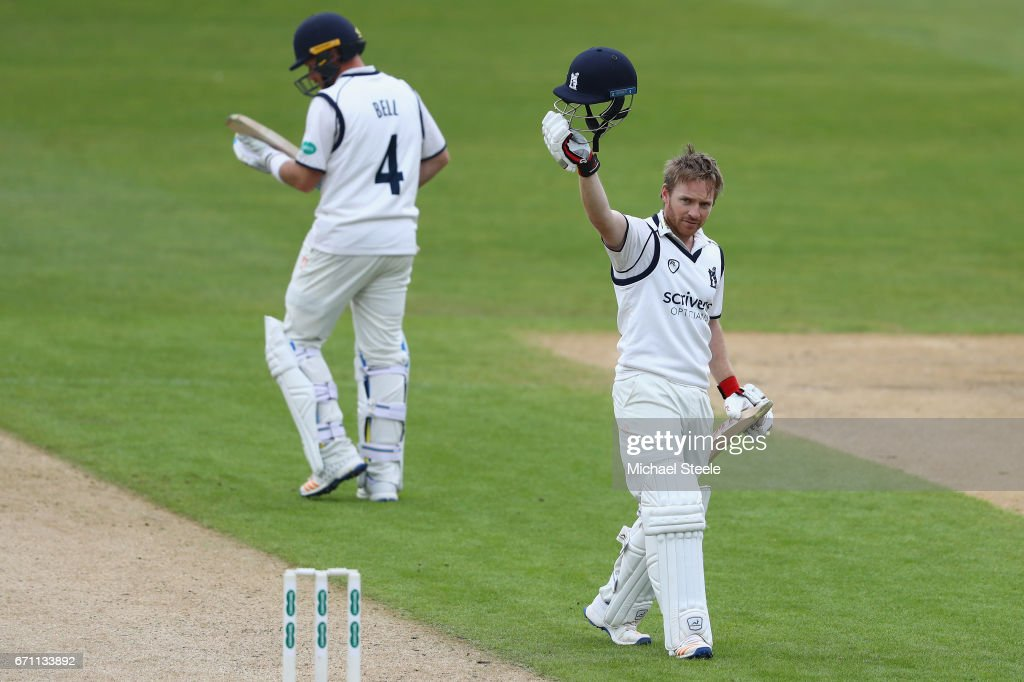 Ian Westwood of Warwickshire celebrates reaching his century during day one of the Specsavers County Championship Division One match between Warwickshire and Surrey at Edgbaston on April 21, 2017 in Birmingham, England.