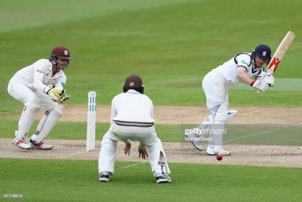 Ian Westwood of Warwickshire plays to the legside as wicketkeeper Ben Foakes of Surrey looks on during day one of the Specsavers County Championship Division One match between Warwickshire and Surrey at Edgbaston on April 21, 2017 in Birmingham, England.